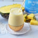 Healthy Pina Colada Smoothie. Fresh pineapple, coconut milk, banana, a touch of honey, and optional coconut yogurt. A creamy sweet healthy coconut pineapple smoothie. www.modernhoney.com