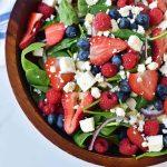 Spinach Berry Salad with Sweet Poppyseed Dressing. Fresh Spinach Salad with Berries, Feta Cheese, and Poppy Seed Dressing. www.modernhoney.com