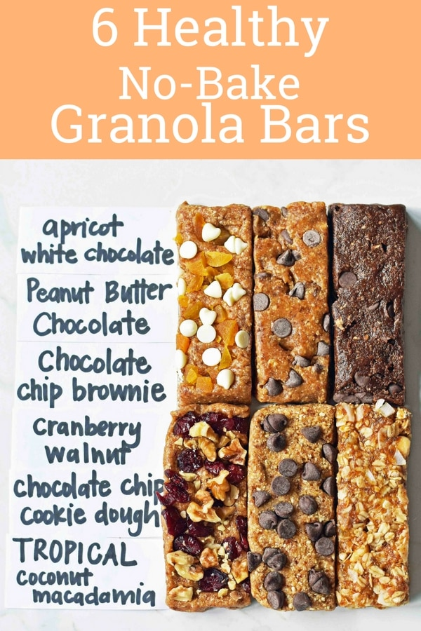 6 Homemade Granola Energy Bars Recipes. Larabar copycat recipes. Healthy granola bar recipes made with all-natural ingredients. Peanut Butter Chocolate Granola Bars, Chocolate Chip Cookie Dough Granola Bars, Apricot White Chocolate Granola Bars, Chocolate Chip Brownie Granola Bars, Tropical Pineapple Coconut Macadamia Granola Bars, Cranberry Walnut Granola Bars. Healthy bars made with rolled oats, dates, nut butter, and honey. www.modernhoney.com