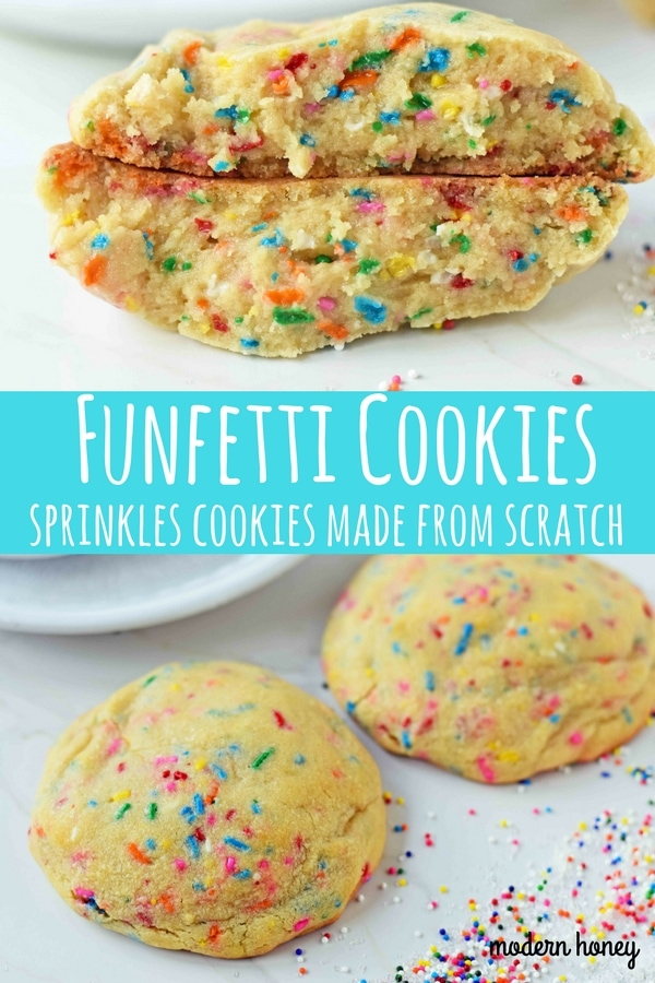 Funfetti Cookies are soft chewy vanilla sugar cookies with rainbow sprinkles. Sprinkles cookies are perfect for birthday parties, graduation, or any celebration. The perfect funfetti cookie made from scratch. www.modernhoney.com