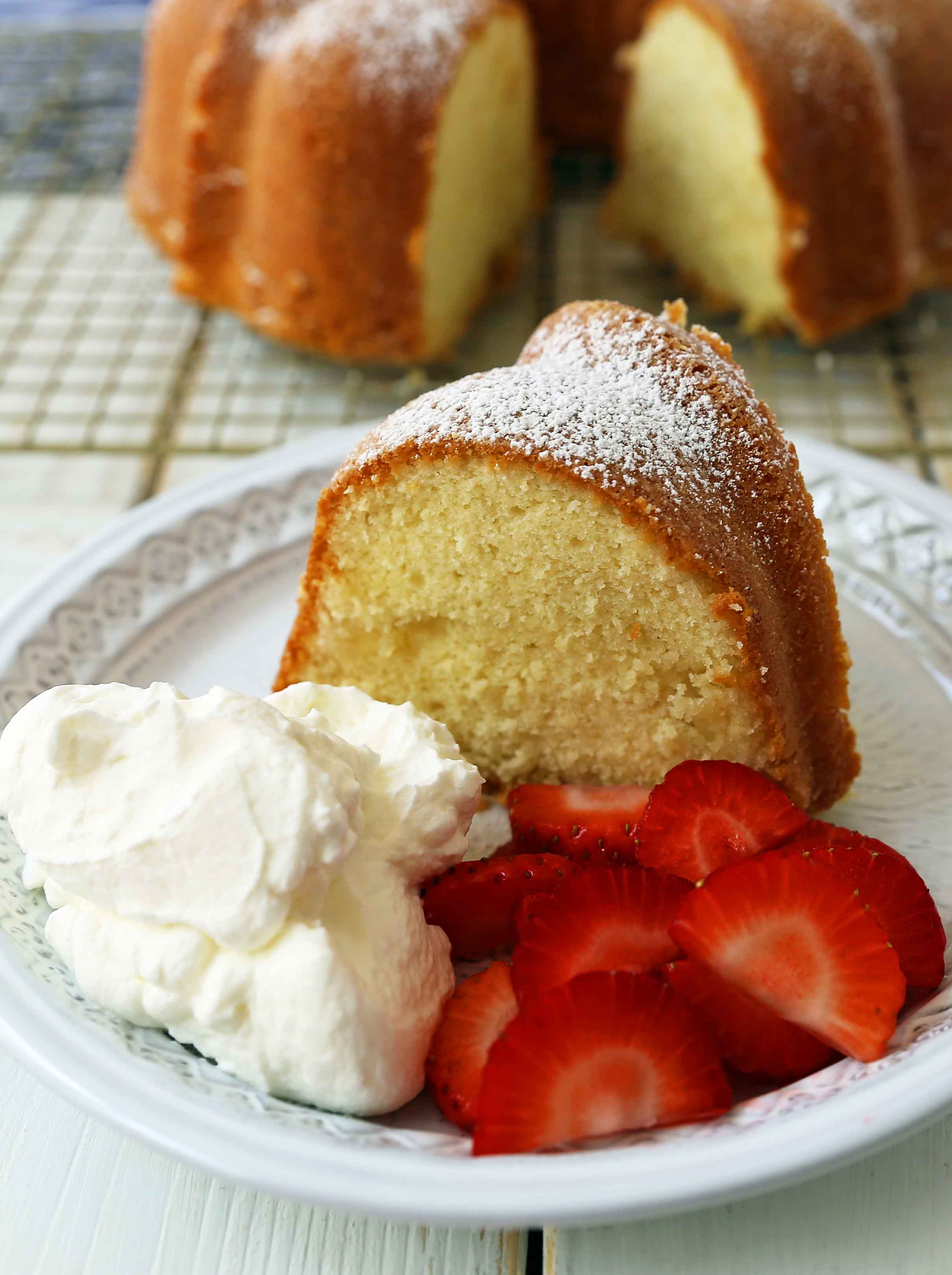 The BEST Cream Cheese Pound Cake. How to make the perfect pound cake in a bundt pan. Buttery cream cheese pound cake goes with everything! This is such a popular cake that is wonderful on its own or in a trifle or berry compote. www.modernhoney.com #poundcake #bundtcake #cake #creamcheesecake
