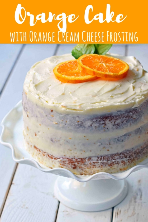 Homemade Orange Cake with Sweet Orange Cream Cheese Frosting. How to make the best orange cake. Orange cake with orange frosting. Naked orange cake. www.modernhoney.com #cake #orangecake #nakedcake #nakedorangecake