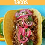 Mexican Pork Carnitas Tacos. Slow Cooker Pork Carnitas with Pickled Onions. How to make tender and flavorful pork carnitas slow cooked in Coca-Cola and citrus juices. www.modernhoney.com #tacos #carnitas #porkcarnitas #slowcooker #slowcookercarnitas