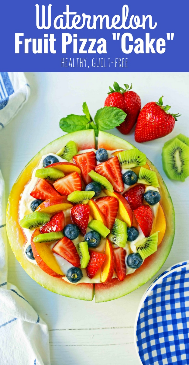 Watermelon Fruit Pizza Cake. A healthy, no-guilt summer dessert recipe. Fresh fruit dessert. The ultimate watermelon and fresh fruit dessert. www.modernhoney.com #fruit #fruitdessert #freshfruit #summer #summerdessert