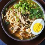 Homemade Chicken Ramen. A filling nutritious soup full of protein, vegetables, and soothing broth. Perfect boost for your immune system! www.modernhoney.com #wellnessyourway @kroger