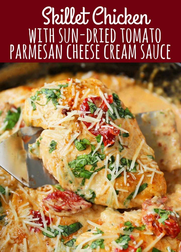 Skillet Chicken with Sun-Dried Tomato Cream Sauce. 20-Minute Chicken made with garlic butter sun-dried tomato parmesan cheese cream sauce. The most flavorful chicken and sauce! You will want to drink the sauce...its THAT GOOD! www.modernhoney.com #skilletdinners #dinner #20minutedinner #chicken #quickdinner