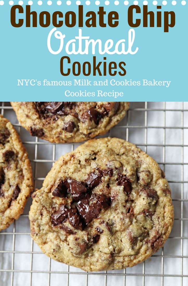 Chocolate Chip Oatmeal Cookies Recipe. Chocolate chip cookies with ground oatmeal have the perfect chewy, crispy texture. This NYC Milk and Cookies Bakery Copycat Cookie Recipe will become a favorite in no time at all! www.modernhoney.com #chocolatechipcookies #chocolatechipoatmealcookies