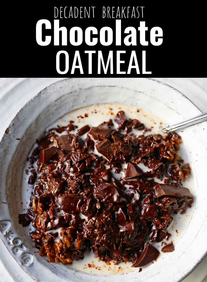 Decadent rich chocolate oatmeal bowls. Chocolate for breakfast! Chocolate oatmeal with coconut milk. Chocolate Coconut Oatmeal Bowls. www.modernhoney.com #chocolateoatmeal