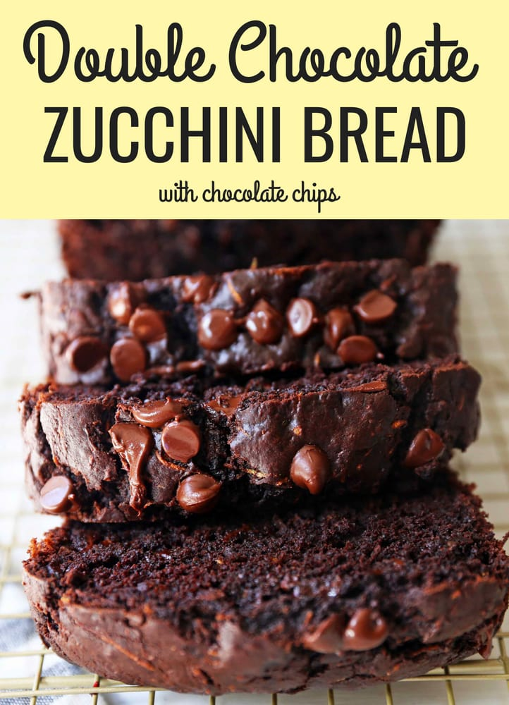 Chocolate Zucchini Bread. A rich double chocolate zucchini bread with chocolate chips recipe. You will never know there is zucchini in this chocolate bread! It is moist, rich, and a chocolate lover's dream! www.modernhoney.com #zucchinibread #chocolatezucchinibread #zucchinirecipes