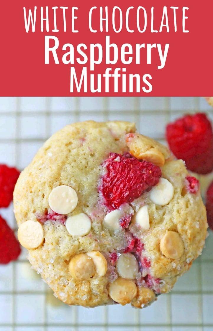 Raspberry White Chocolate Muffins. Soft, moist muffins with fresh raspberries and sweet white chocolate chips. The perfect tart and sweet muffin recipe. Moist raspberry muffins recipe. www.modernhoney.com #raspberrymuffins #muffins #muffinsrecipe