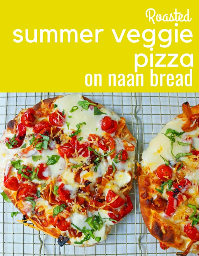 Veggie Pizza Recipe. Homemade veggie pizza with roasted vegetables, mozzarella cheese, and ricotta. Naan Bread Pizza made in 20 minutes! www.modernhoney.com #flatbreadpizza #naanbreadpizza