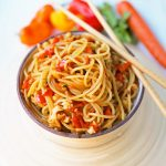 Asian Vegetable Stir-Fry Noodles. Healthy fresh vegetables in a homemade stir-fry sauce tossed with noodles. A quick and easy family dinner. 20-minute Asian Garlic Noodles Recipe. www.modernhoney.com #asiannoodles #garlicnoodles #stirfry #veggiestirfry #asianfood