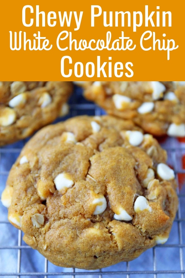 Pumpkin White Chocolate Chip Cookies Recipe. Soft and Chewy Pumpkin Oatmeal Cookies with White Chocolate Chips. The best chewy pumpkin cookies. www.modernhoney.com #pumpkincookies #pumpkinoatmealcookies #pumpkinwhitechocolatechipcookies #fallrecipes