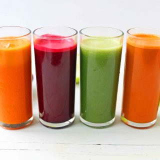 Healthy Juice Cleanse Recipes. Four health fresh fruit and vegetable juice recipes. How to make fresh juices at home for a fraction of the price. Find out the immune boosting and health benefits from juicing. www.modernhoney.com #juicing #juices #fruitandvegetablejuices #juicingrecipes