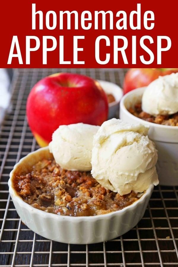 Apple Crisp dessert made with fresh apples with a homemade buttery brown sugar pecan topping. The BEST Apple Crisp Recipe and the perfect Fall dessert. www.modernhoney.com #applecrisp #appledessert #falldessert #apple
