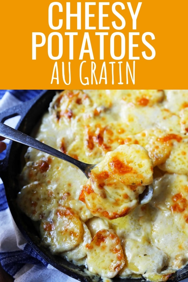 Cheesy Potatoes Au Gratin. Homemade cheesy scalloped potatoes with a rich cream sauce and melted cheddar cheese. The perfect potato side dish recipe! www.modernhoney.com #scallopedpotatoes #potatoesaugratin #potatoes #potato #thanksgiving