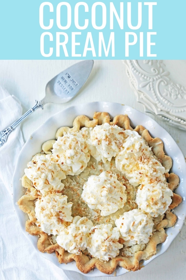 Coconut Cream Pie. A homemade coconut custard filling in a buttery pie crust topped with fresh whipped cream and toasted coconut. www.modernhoney.com #coconutcreampie #coconutpie #pie