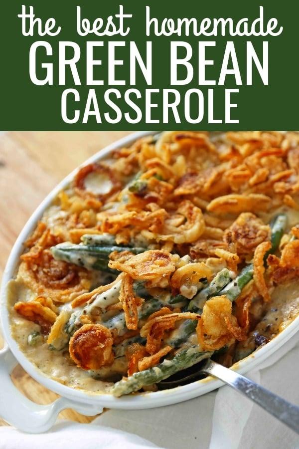 Homemade Green Bean Casserole made from scratch. The BEST Green Bean Casserole Recipe. The perfect Thanksgiving side dish. www.modernhoney.com #greenbeans #greenbeancasserole #thanksgiving #sidedish #vegetables #thanksgivingrecipes