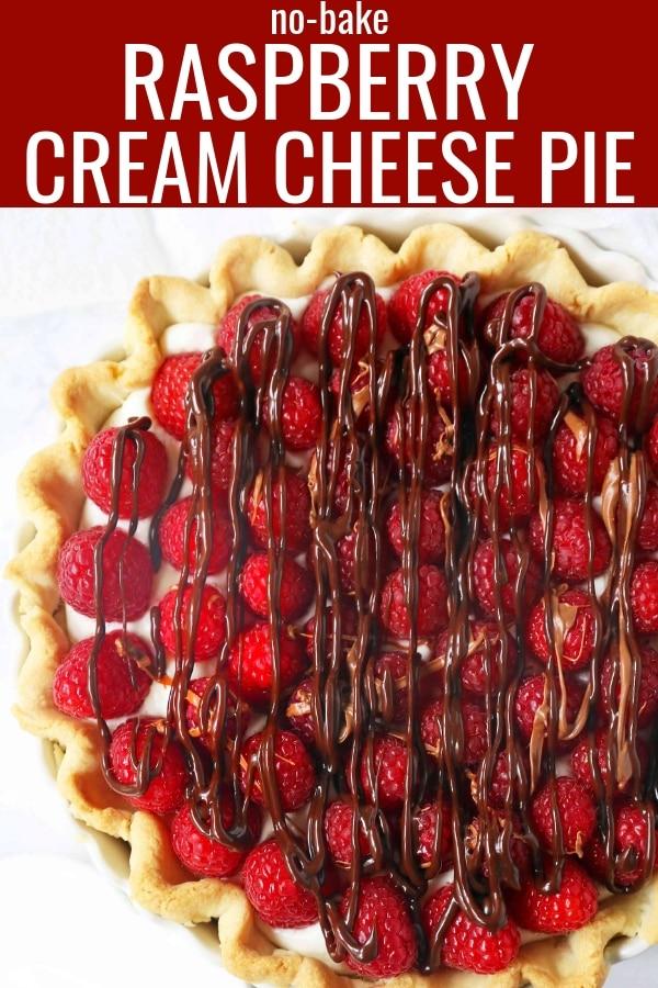 Raspberry Almond Cream Cheese Pie. A simple cream cheese almond pie with fresh raspberries and chocolate drizzle. An award-winning easy pie recipe! www.modernhoney.com #creamcheesepie #raspberrypie #pie #pierecipe #driscolls