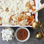 Sweet Potato Casserole with Marshmallows and Streusel. A classic Thanksgiving side dish with savory and creamy sweet potatoes topped with toasted marshmallows and brown sugar streusel. www,modernhoney.com #sweetpotatocasserole #sweetpotatoes #sweetpotatoeswithmarshmallows #thanksgiving #thanksgivingsidedish #sidedish
