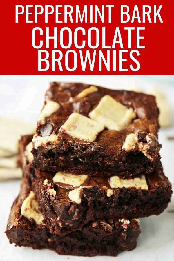 Peppermint Bark Chocolate Brownies. Decadent homemade chocolate brownies with white chocolate peppermint bark. The perfect Christmas holiday brownie. www.modernhoney.com #peppermintbarkbrownies #peppermintbrownies #christmasbrownies