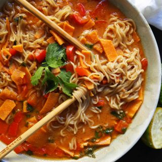 Thai Coconut Curry Vegetable Soup. A rich gluten-free and dairy-free vegetable coconut curry soup recipe. How to make a vegetable ramen at home. www.modernhoney.com #curry #vegetablecurry #vegetables #thai #thaifood #thaicurry #coconutcurry #vegetablecurry