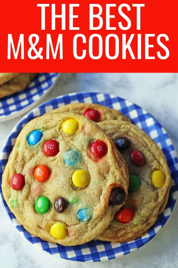 Soft and Chewy M & M Cookies. The best M & M cookie recipe. How to make the perfect M & M cookie. www.modernhoney.com #cookie #cookies #m&mcookie #m&mcookies #dessert