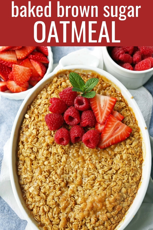 Baked Oatmeal. Brown Sugar Baked Oatmeal. A warm, comfort food breakfast is a perfect way to serve a crowd or to re-heat for those busy mornings.  www.modernhoney.com #bakedoatmeal #oatmeal #oatmealbake #brownsugaroatmeal