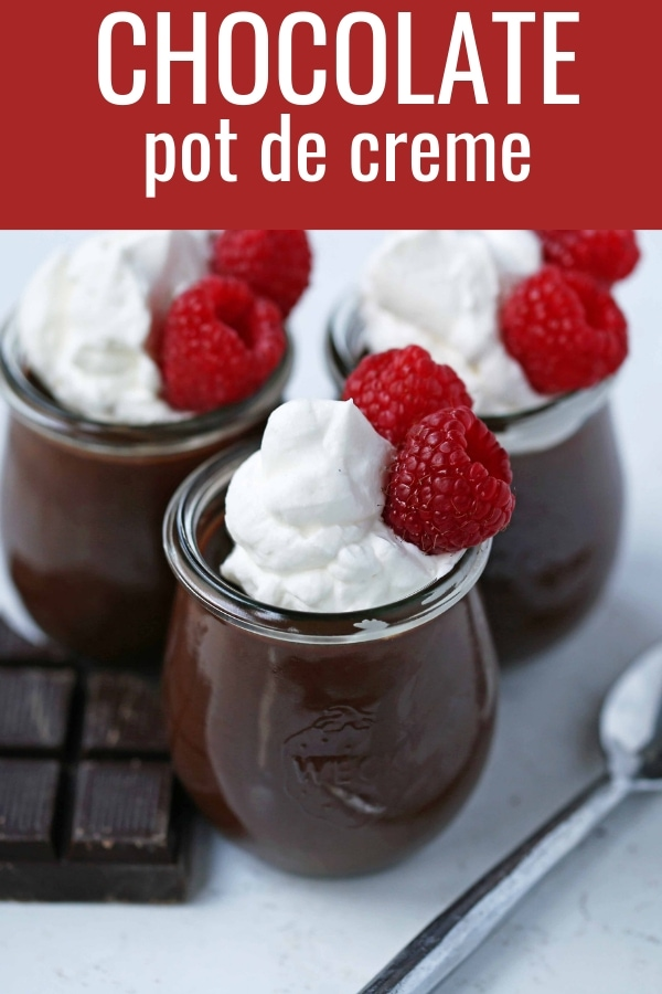 Chocolate Pot de Creme. Rich velvety smooth chocolate custard topped with fresh whipped cream. A pot of cream made with melted chocolate, heavy cream, sugar, and egg yolks. A decadent chocolate dessert! www,modernhoney.com #chocolatedessert #chocolatepotdecreme #potdecreme #valentinesday #chocolate