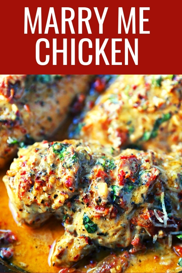 Marry Me Chicken. Famous skillet chicken in a sundried tomato parmesan cream sauce with fresh basil. It will definitely inspire marriage proposals! www.modernhoney.com #chicken #skilletchicken #marrymechicken #30minutemeal #30minutemeals