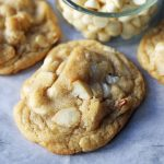 White Chocolate Macadamia Nut Cookies. Soft chewy white chocolate macadamia nut cookies are a sweet, buttery cookie and are always a crowd pleaser! www.modernhoney.com #whitechocolate #whitechocolatecookies #whitechocolatemacadamia #whitechocolatemacadamianutcookies #cookies #cookierecipe