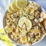 Creamy Lemon Chicken Pasta.Sauteed chicken in a rich creamy lemon basil sauce tossed with your favorite kind of pasta. A quick and easy 30-minute meal! www.modernhoney.com #lemonpasta #lemonchickenpasta #pasta #pastarecipes