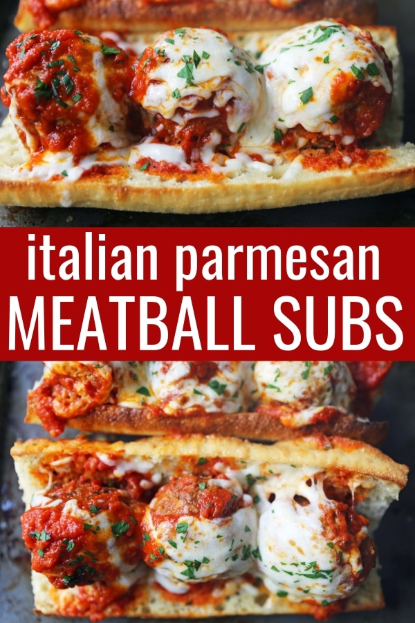 Italian Meatball Subs. Homemade beef parmesan meatballs in a fresh marinara sauce topped with melted mozzarella cheese all on toasted bread. The best meatball sub recipe! www.modernhoney.com #meatballs #meatball #meatballsub