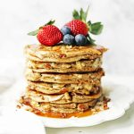 Nutty Granola Pancakes. Gluten-Free, Dairy-Free, No Added Sugar, Healthy Pancakes filled with oats, nuts, and coconut flakes. A hearty, filling breakfast! www.modernhoney.com #pancakes #pancake #healthy #glutenfree #dairyfree #breakfast