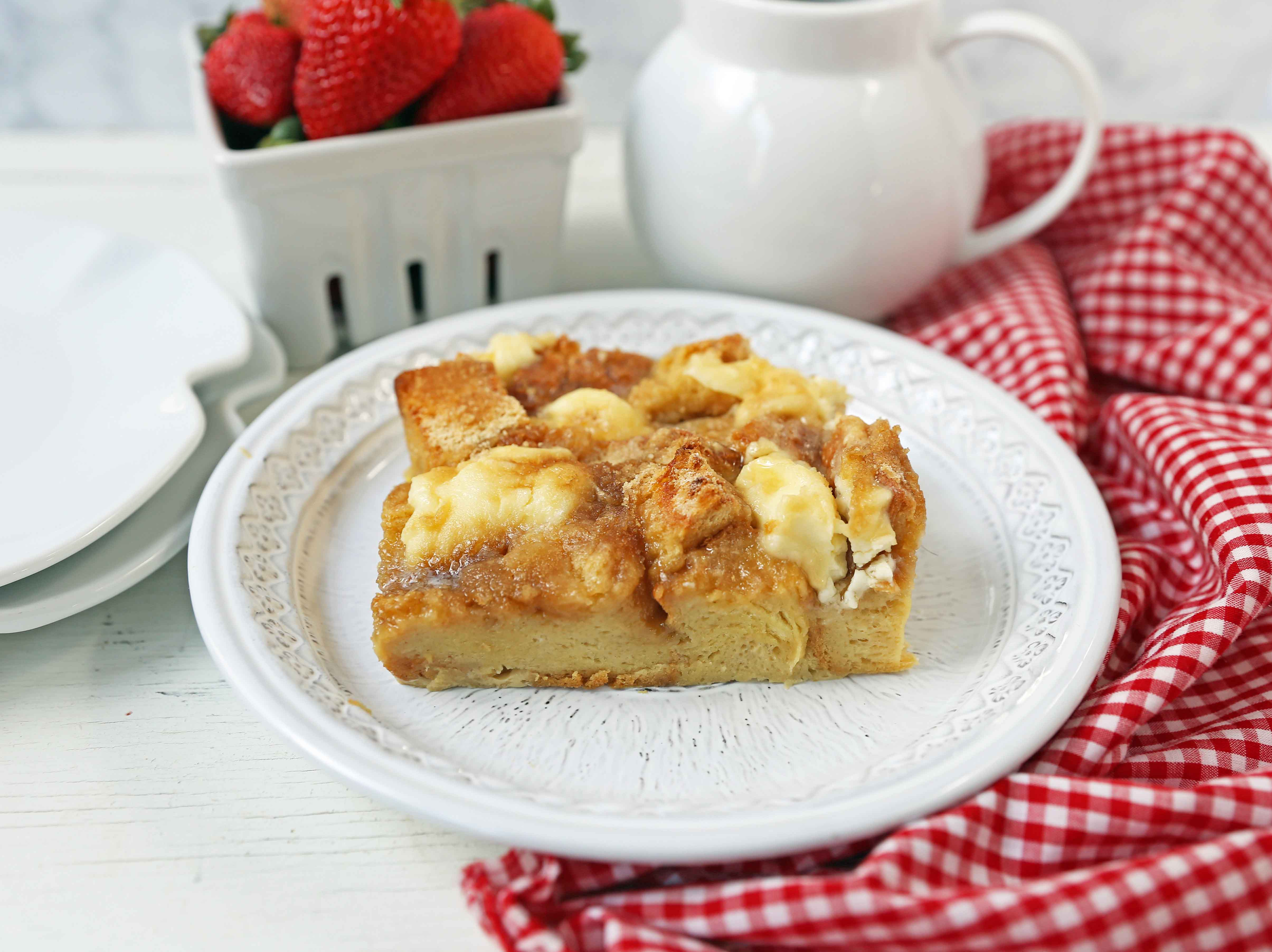Baked French Toast Casserole. Challah bread soaked in a rich sweet custard with sweet cream cheese and topped with a brown sugar streusel topping. An easy overnight french toast recipe. www.modernhoney.com #frenchtoast #bakedfrenchtoast #breakfast #overnightfrenchtoast