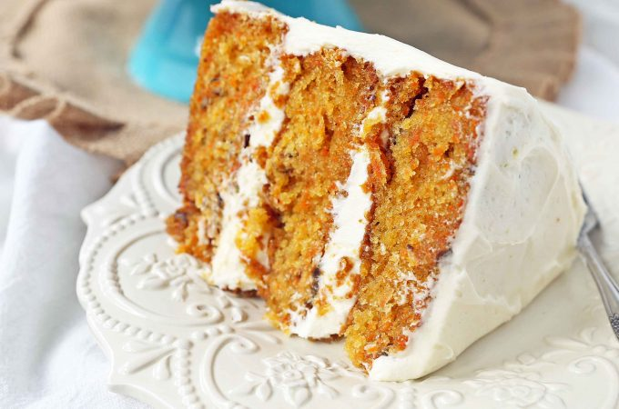 The Best Carrot Cake Recipe. A moist, tender carrot cake covered in a sweet cream cheese frosting. The perfect carrot cake recipe! #carrotcake #carrotcakerecipe #easter #easterrecipes