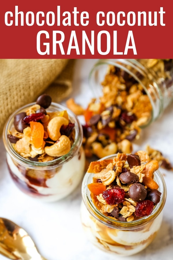 Chocolate Coconut Granola. A decadent chocolate coconut granola with cashews, dried cranberries, apricots, almonds, coconut flakes, and chocolate chips.  The best Chocolate Coconut Granola Recipe. www.modernhoney.com #granola #chocolatecoconutgranola #granolarecipe
