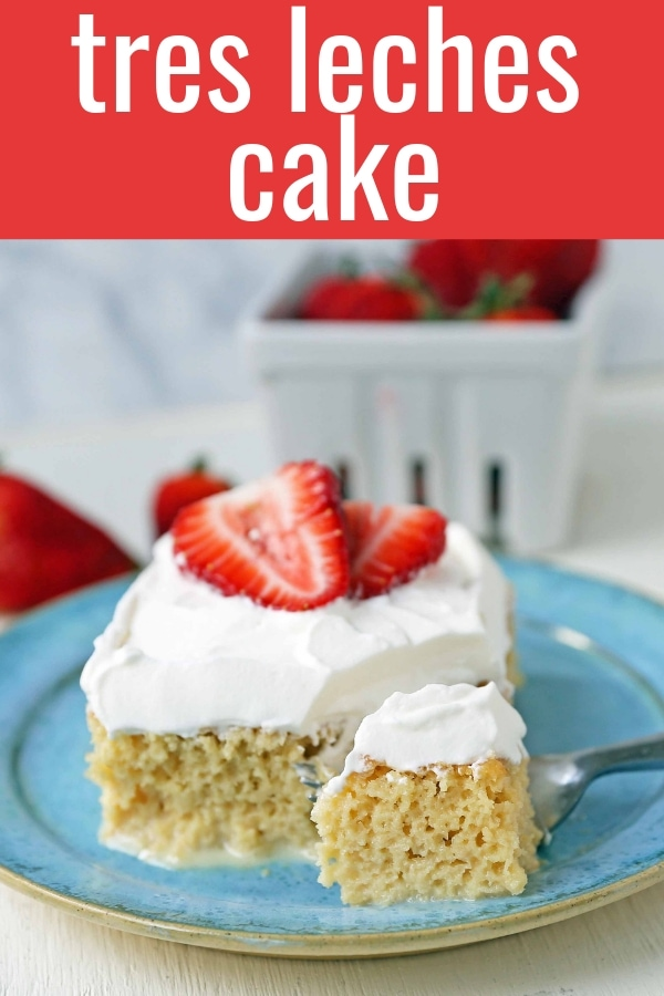 Tres Leches Cake. A classic Mexican dessert made with a vanilla sponge cake soaked with three kinds of milk -- heavy cream, evaporated milk and sweetened condensed milk and topped with whipped cream.  www.modernhoney.com #treslechescake #threemilkcake #cincodemayo