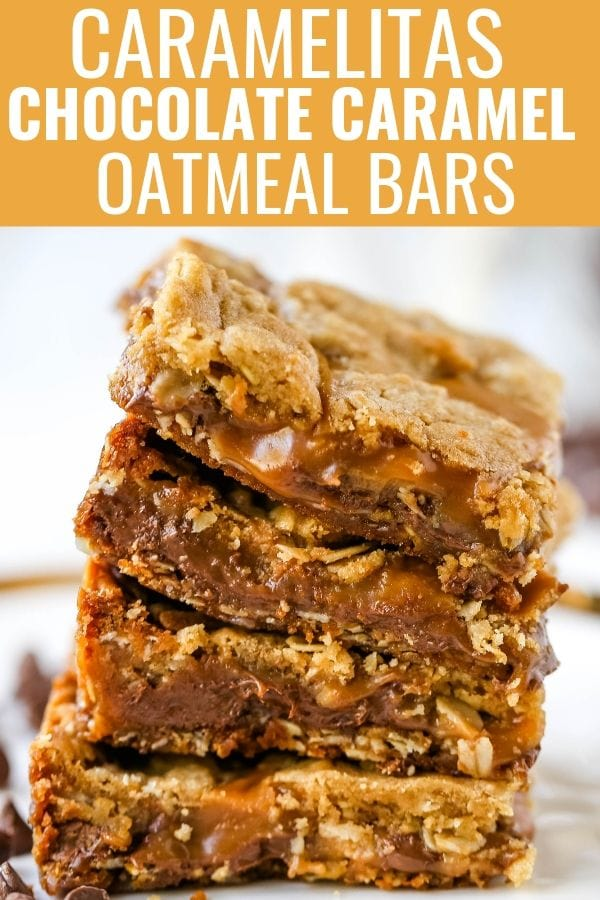 Caramelitas Chocolate Caramel Oatmeal Bars. Buttery oatmeal cookie layer with gooey sweet caramel and rich milk chocolate.  The perfect caramelita bar recipe! www.modernhoney.com #caramelitas #chocolatecaramelbars #dessertbars