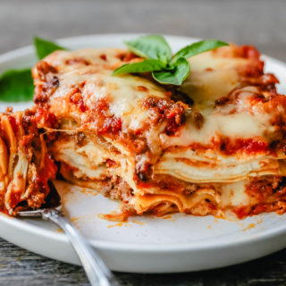 The Best Classic Lasagna Recipe The perfect lasagna recipe made with parmesan ricotta cheese filling, melted mozzarella cheese, lasagna noodles, and a robust tomato meat sauce. It is the best lasagna recipe!