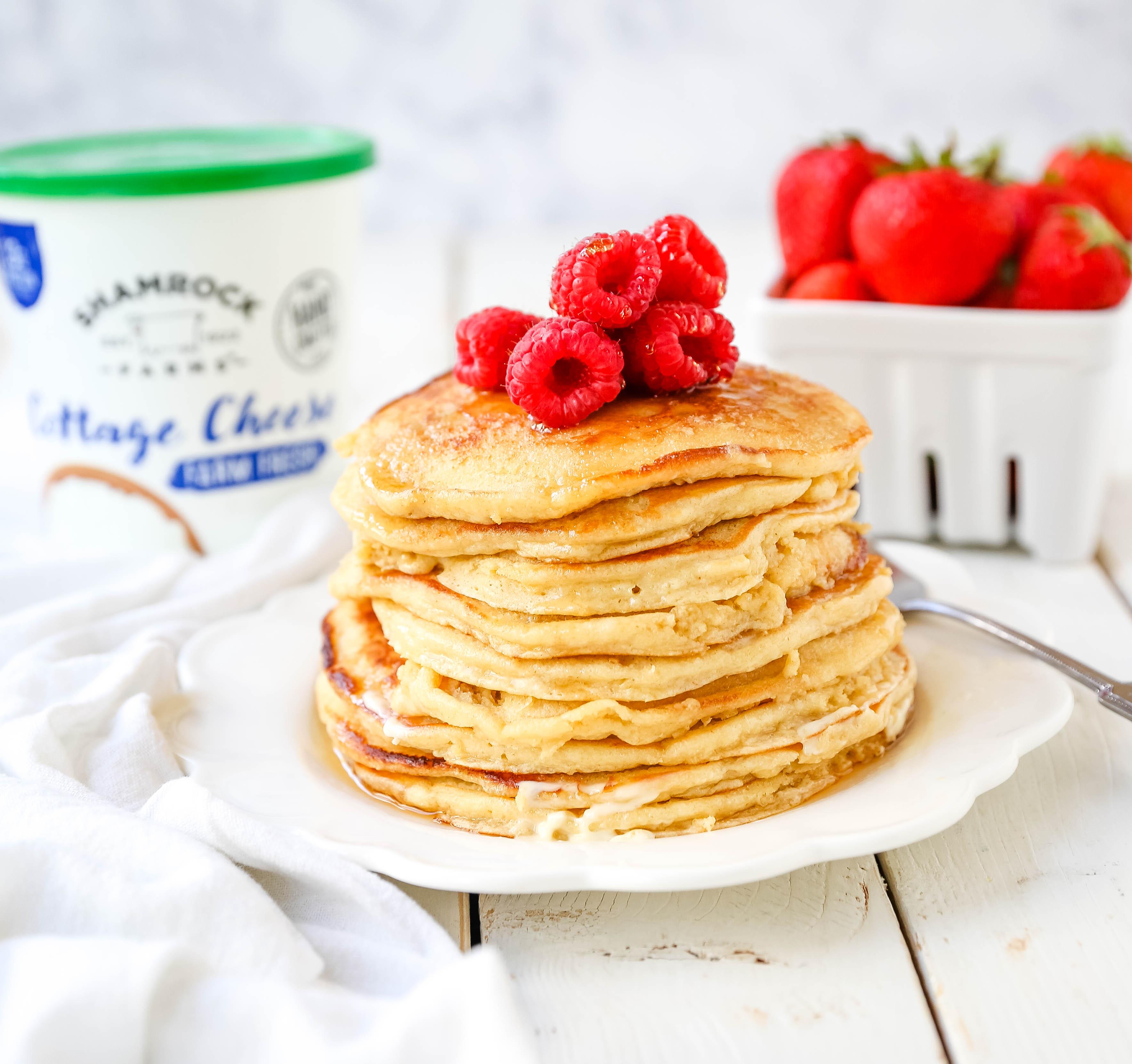 Cottage Cheese Pancakes High-protein gluten-free cottage cheese pancakes made a healthy, filling, delicious breakfast! www.modernhoney.com #breakfast #highprotein #protein #proteinrecipes #cottagecheesepancakes