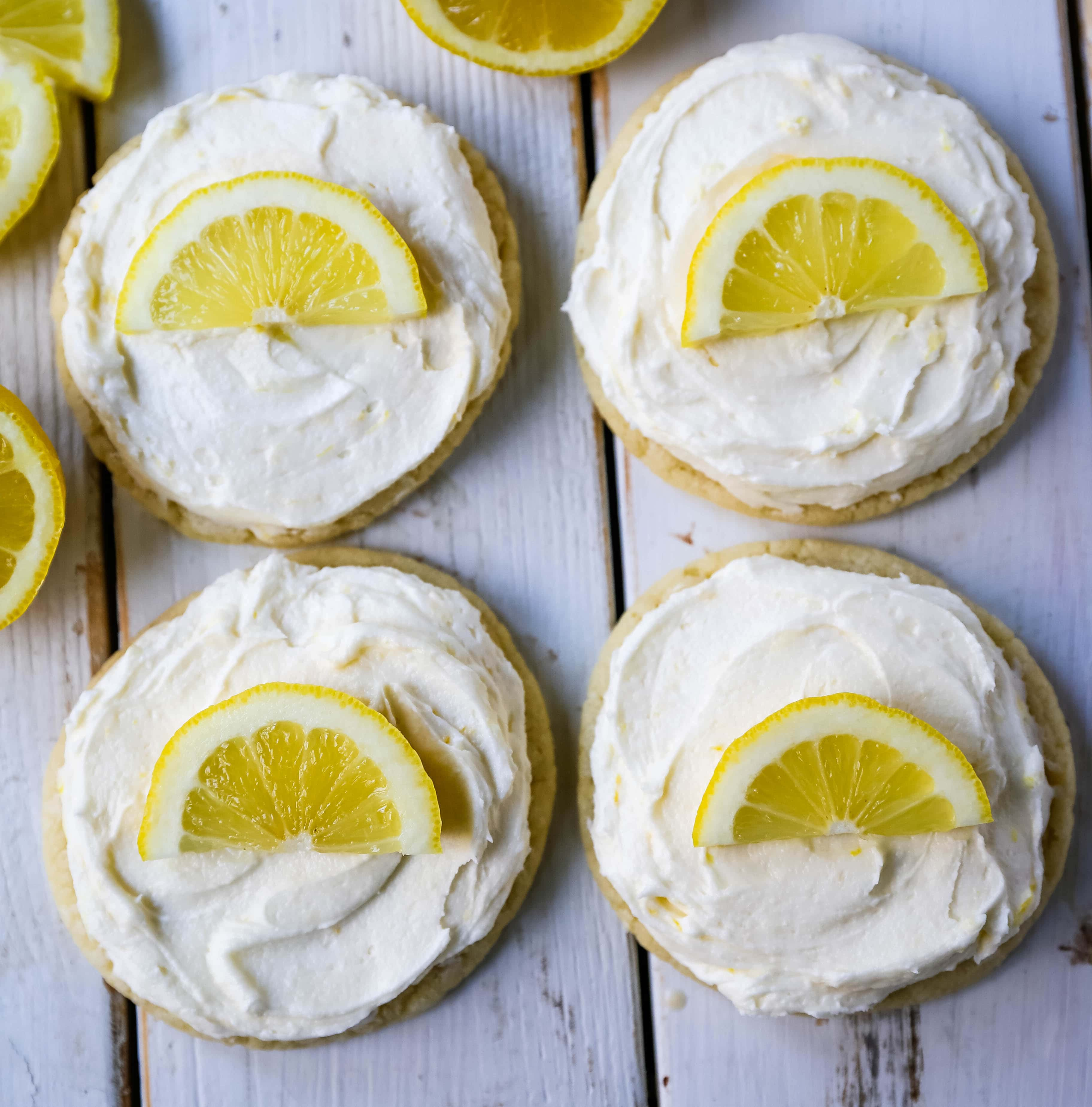 Frosted Lemon Cookies Soft chewy lemon cookies with fresh lemon cream cheese frosting. The perfect frosted lemon cookie recipe! www.modernhoney.com #lemon #lemoncookies #lemondesserts