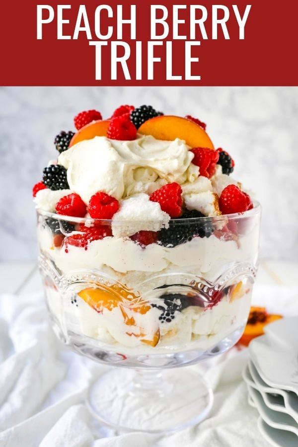 Peach Berry Trifle Angel food cake, a sweet, creamy, fluffy filling with fresh peaches and raspberries makes this the perfect summer dessert.  www.modernhoney.com #peach #peacherecipes #trifle #dessert