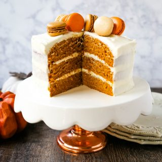 Pumpkin Cake with Cream Cheese Frosting Moist Pumpkin Spiced Cake with a Sweet Cream Cheese Frosting. The best Fall pumpkin layered cake recipe!  www.modernhoney.com #pumpkin #pumpkinrecipes #fall #ffallrecipes #pumpkincake