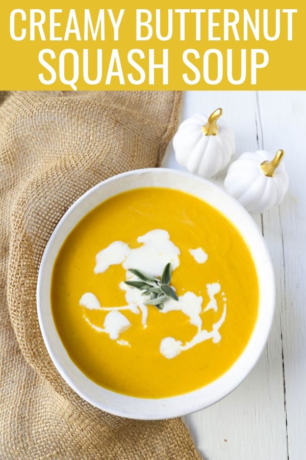 Creamy Butternut Squash Soup A rich creamy roasted butternut squash soup is the perfect Fall comfort food! www.modernhoney.com #butternutsquashsoup #fall #fallfood
