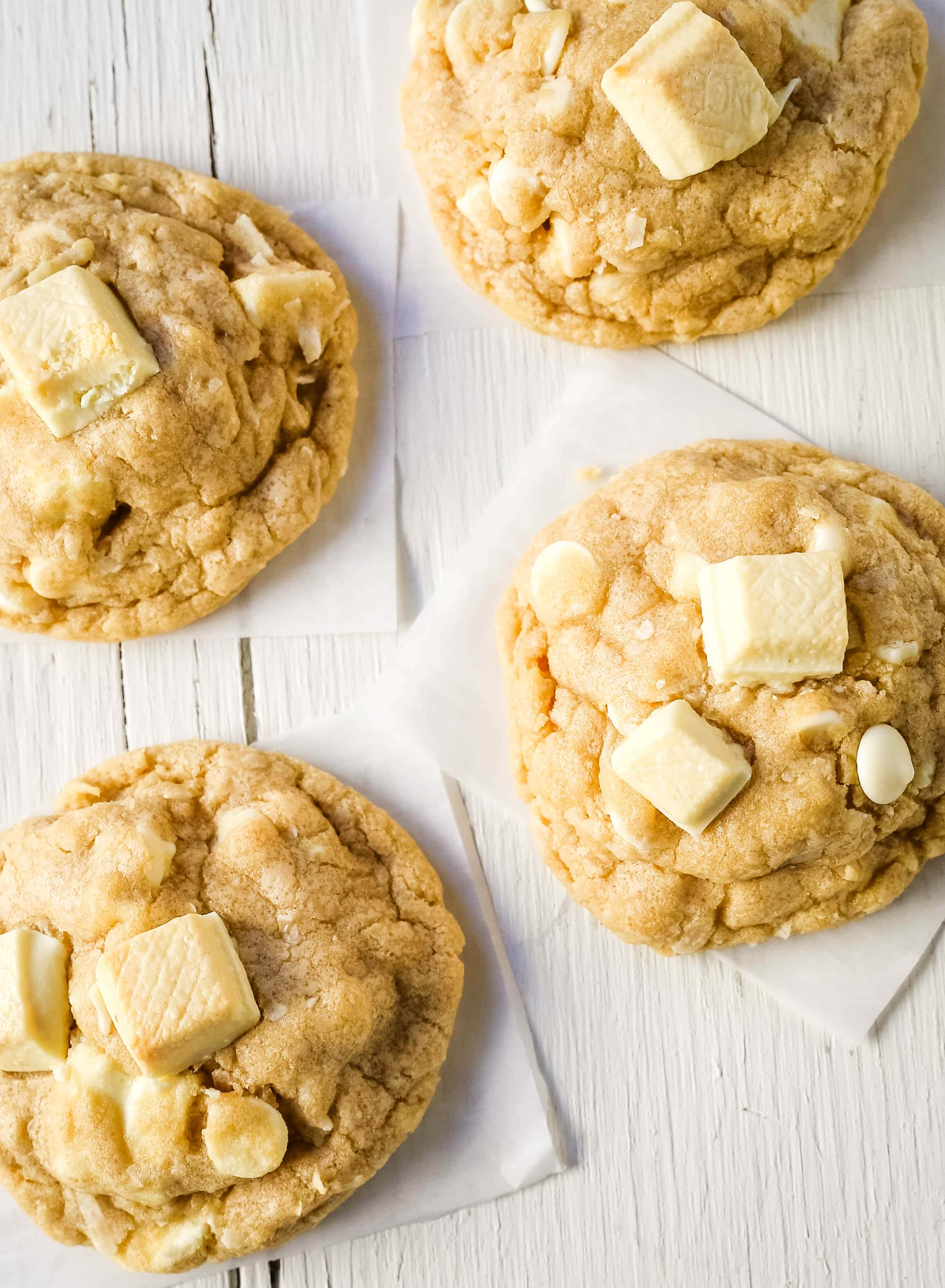 White Chocolate Coconut Cookies Soft chewy white chocolate coconut cookies are the perfect sweet, buttery tropical cookie! www.modernhoney.com #cookie #cookies #cookierecipe #cookierecipes #whitechocolatecookies
