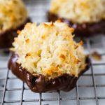 The Best Coconut Macaroons. Soft chewy sweet coconut macaroons are the perfect gluten-free cookie. How to make the perfect coconut macaroons dipped in dark chocolate. www.modernhoney.com #macaroons #coconutmacaroons #macaroon #christmascookie #christmascookies