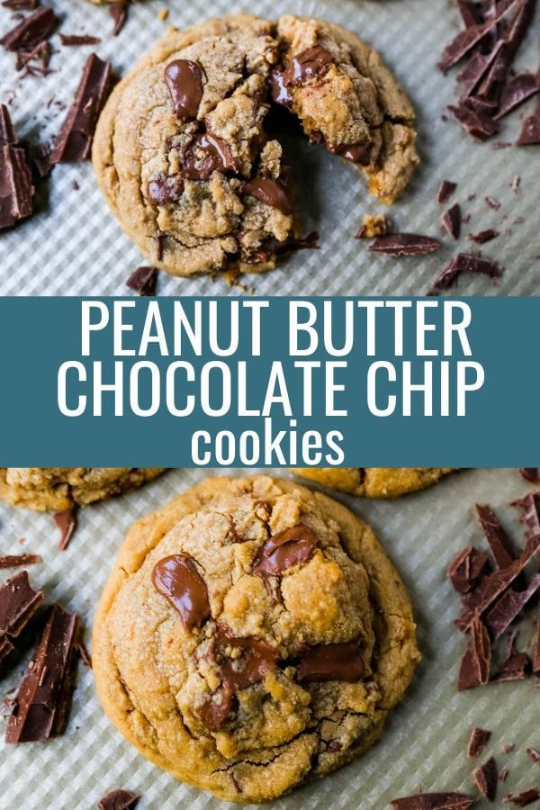 Peanut Butter Chocolate Chip Cookies Soft chewy peanut butter cookies with chocolate chunks. How to make the best peanut butter chocolate chip cookies! www.modernhoney.com #peanutbutter #peanutbuttercookies #peanutbutterchocolatechipcookies #christmascookies