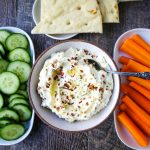Mediterranean Creamy Feta Cheese Dip A creamy feta cheese dip with extra-virgin olive oil, feta cheese, cream cheese, garlic, fresh lemon zest, and red chili flakes. www.modernhoney.com #dip #dips #appetizer #appetizers #fetadip #fetacheesedip #superbowl