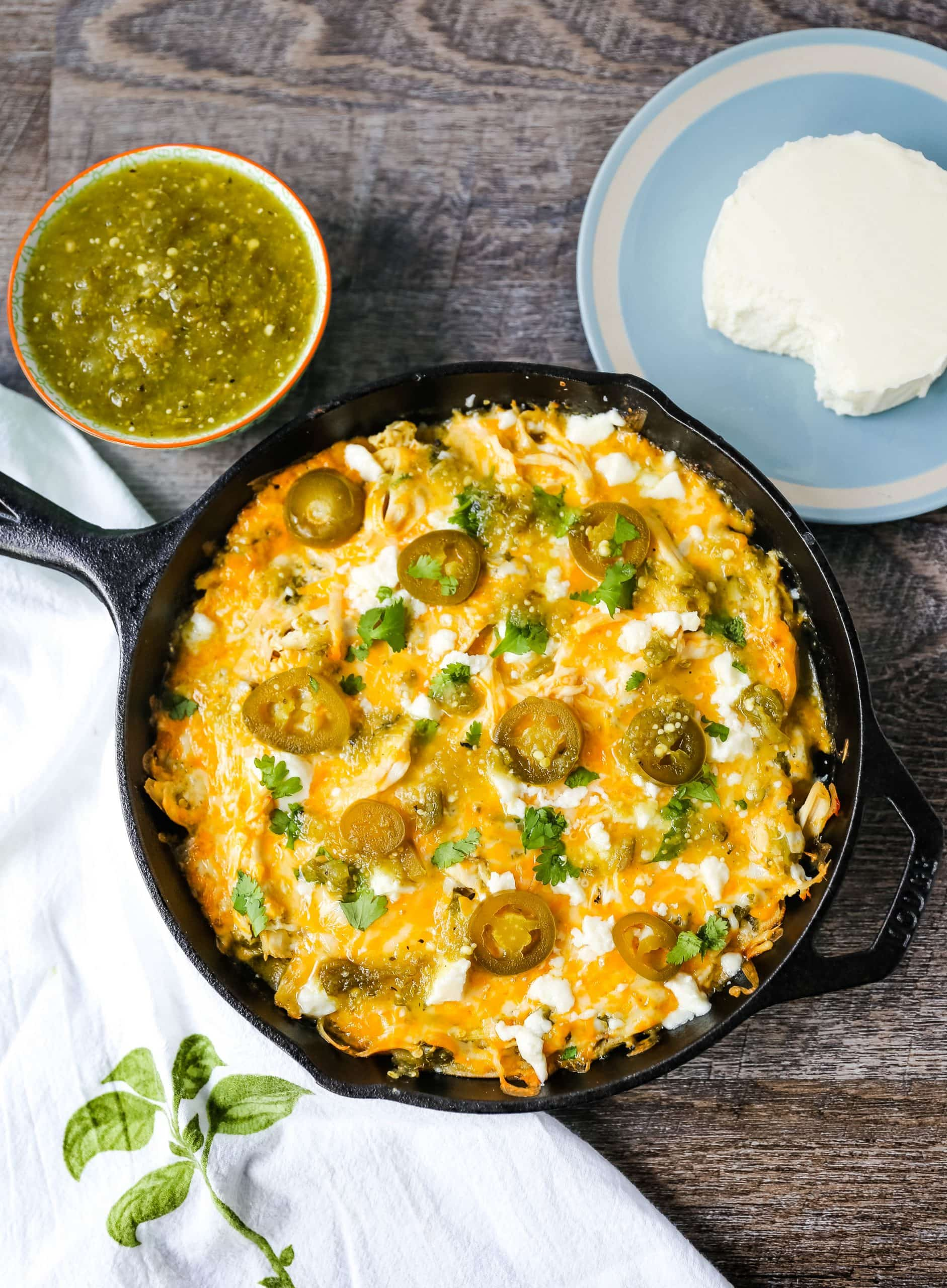 Chicken Stacked Enchiladas Quick and easy stacked chicken enchiladas with salsa verde and Mexican cheeses. Authentic Mexican chicken enchiladas that can be thrown together in a snap! The best stacked chicken enchiladas recipe. www.modernhoney.com #enchiladas #mexicanfood #chicken #chickenenchiladas